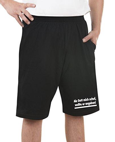 Touchlines Unisex/Herren Bermuda Short Als Gott Mich Schuf, Black, M, H170