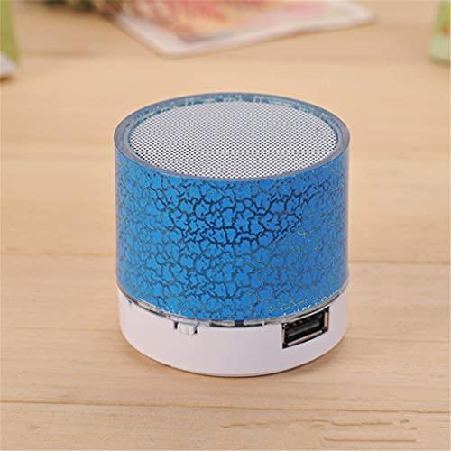 RYSF Nouveau Mini Portable Voiture AudioDazzling Crack LED sans Fil Bluetooth 4.1 Subwoofer Haut-Parleur Carte TF (Color : Blue)