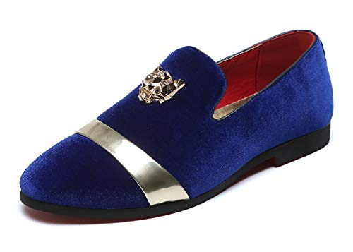 Mens Velvet Loafers Slippers with Gold Buckle Wedding Dress Shoes Slip-on Smoking Flats Blue 5 US