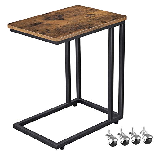VASAGLE Industrial Side Table, Mobile Snack Table for Coffee Laptop Tablet, Slides Next to Sofa Couch, Wood Look Accent Furniture with Metal Frame