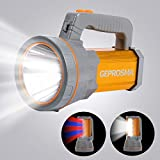 Super Bright Handheld Led Spotlight Flashlight Searchlight USB Rechargeable Large 4 Battery 10000mah Powerful High 6000 Lumens Powered Portable Cordless Camping Emergency Marine Boat Flash Light