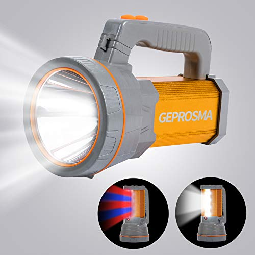 Super Bright Handheld Searchlight USB Rechargeable Large 4 Batteries 10000mah Powerful Cree LED Cordless Spotlight Flashlight High 6000 Lumens Powered Heavy Duty Portable Camping Lantern Emergencies