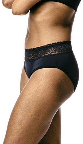Luxury & Layla Leak Proof Period Panties & Incontinence Underwear - Absorbent, Breathable, Moisture Wicking - Hiphugger Black - M