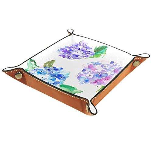 Yumansis Bandeja plegable de cuero de la PU para el almacenamiento de la joyería del reloj titular de la caja del almacenamiento de la joyería púrpura y azul flores 16x16cm