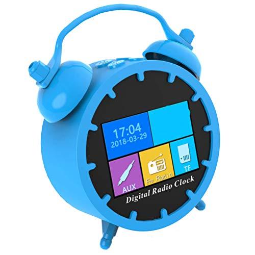 NUOBESTY Reloj Despertador Digital Led Multifunción Altavoz de Radio Portátil Radio Electrónico Led Pantalla de Tiempo