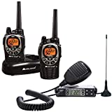 Midland GXT1000 GMRS Walkie Talkie Bundle - Long Range Two Way Radio with NOAA Weather Scan + Alert, 50 Channels, and 142 Privacy Codes (Black/Silver, Extreme Bundle)