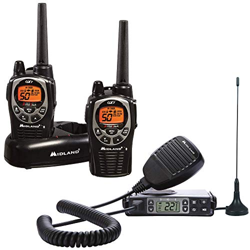 Midland Xtreme Bundle - Includes 50 Channel Waterproof GMRS Two-Way Radio with Long Range, and 142 Privacy Codes and a MicroMobile GMRS Radio (Black/Silver, Pair Pack)