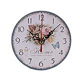 XYQY Reloj de Pared de Madera Antigua sin tictac de Estilo Vintage para la Cocina del hogar Oficina de Barrido silencioso Reloj de Pared Decorativo Interior de China Blanco