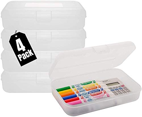 1InTheoffice Pencil Box, Translucent Clear (4 Pack)
