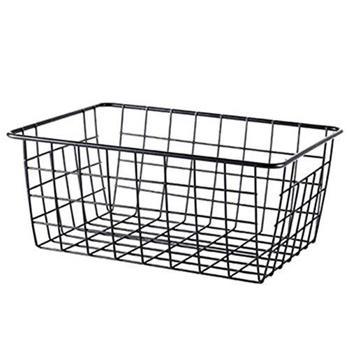 Bonwete - Cesta de almacenamiento de hierro para el hogar, oficina, metal, cesta organizadora, Negro