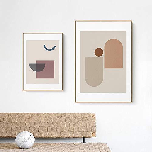 SYyshyin Juego de 2 piezas para pared nórdica, moderna, geométrica, minimalista, decoración de oro, pintura de pared, pared, dormitorio, sala de estar, sofá, hotel, micro spray HD