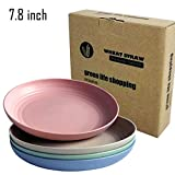 Greenandlife Lightweight Wheat Straw Plates - 4Pack Unbreakable Dishes and Plates Sets Non-toxin,...
