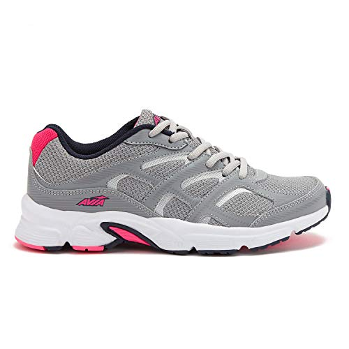 Avia Women's Avi-Forte Running Shoe, Grey/Pink/Navy, 9