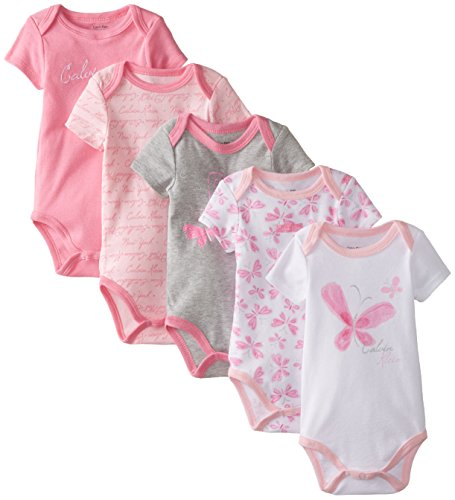 Calvin Klein Baby Girls' Assorted Short Sleeve Bodysuit, Gray/Pink Butterfly, 6-9 Months (Pack of 5)