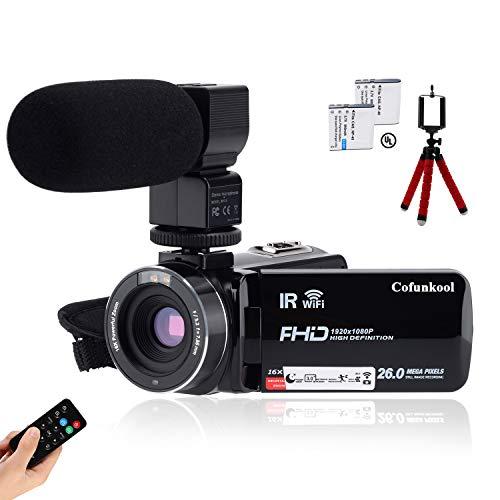 Videocamera CofunKool 1080P 26MP WiFi Video Camcorder Vlogging Camera IR Visione notturna a Infrarossi con Microfono Ricaricabile Telecomando e Mini Treppiede con Supporto USB, Uscita TV