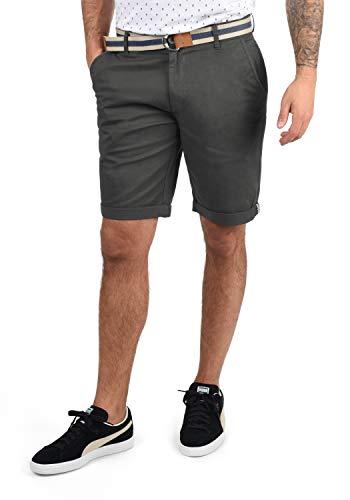 !Solid Monty Herren Chino Shorts Bermuda Kurze Hose Mit Gürtel Aus Stretch-Material Regular-Fit, Größe:XL, Farbe:Dark Grey (2890)