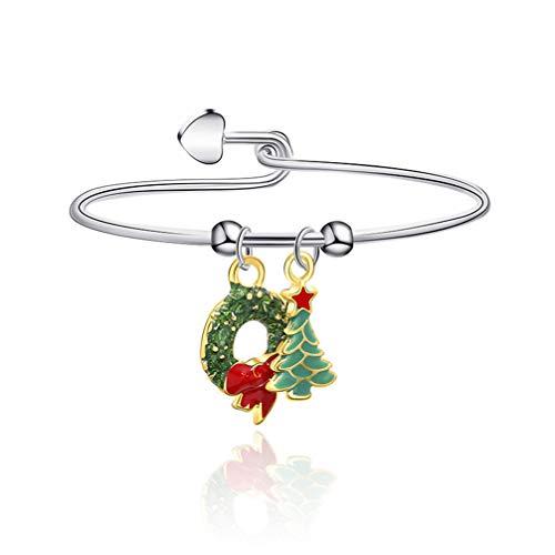 Kyoidy 1pcs Christmas Bracelet Reindeer Santa Candies Christmas Tree Pendant Bangle Female Stylish Accessories Gift,G1187,Style 1