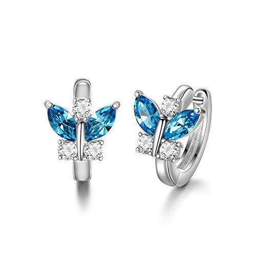 Creolen Schmetterlinge Sterling Silber 925 Kinder Ohrringe Mädchen mit Kristallen, Schmetterling Schmuck Geschenke für Frauen (Simulierter Aquamarin)