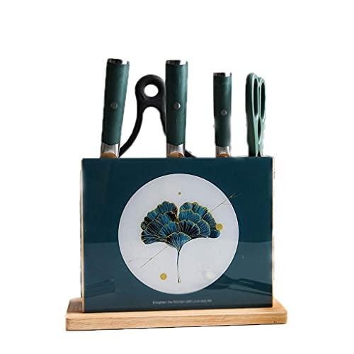 TNSYGSB Soporte de Cuchillo de encimera de Roble, Bloque de Cuchillos de Cocina, Cremallera para Ahorro de Espacio, Almacenamiento de Cuchillos convenientes Accesorios Cocina