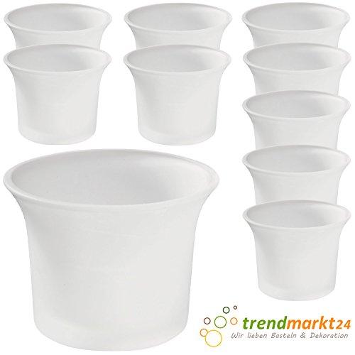 trendmarkt24 Teelichtglas-Set gefrostet 10er Set ca. 6,5 x 4,5 cm groß Windlicht-Glas Teelichtgläser | Teelicht-Halter Set Hochzeits Tischdeko/Geburtstags Deko 37501621