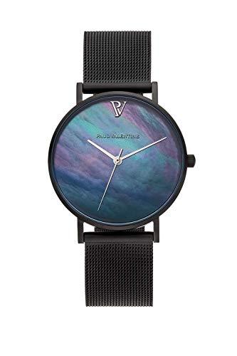 PAUL VALENTINE ® Damenuhr Black Seashell Mesh Armband schwarz Uhr Damen Abalone Perlmutt Ziffernblatt Silberne Initialien