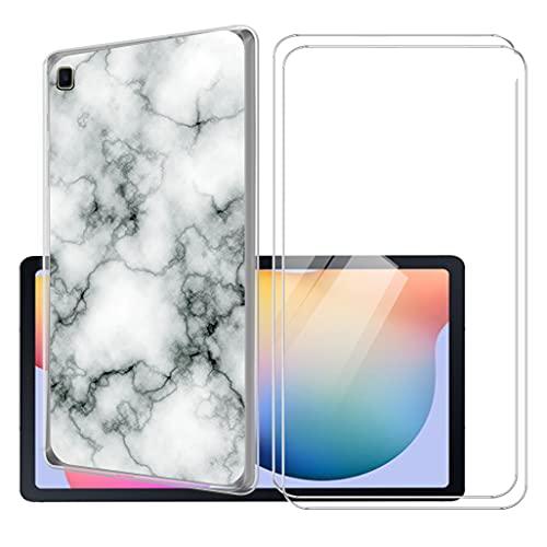 LKJMY para Samsung Galaxy Tab S6 Lite 10.4 Tableta Funda + 2 Piezas Cristal Templado,Transparente Carcasa Silicone Case Bumper,Anti-Golpes Cover Anti-Rasguño Cover Caso,Vidrio Templado-LKJA4