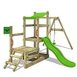 FATMOOSE Spielhaus RabbitRally Racer XXL Spielturm Holz mit 3 Ebenen Rutsche Schaukel Sandkasten
