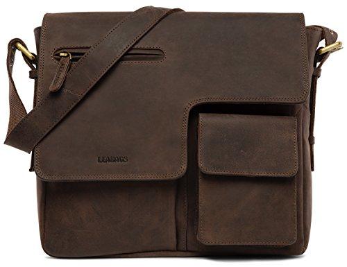 LEABAGS Birmingham Umhängetasche Schultertasche Laptoptasche aus echtem Leder im Vintage Look - Muskat