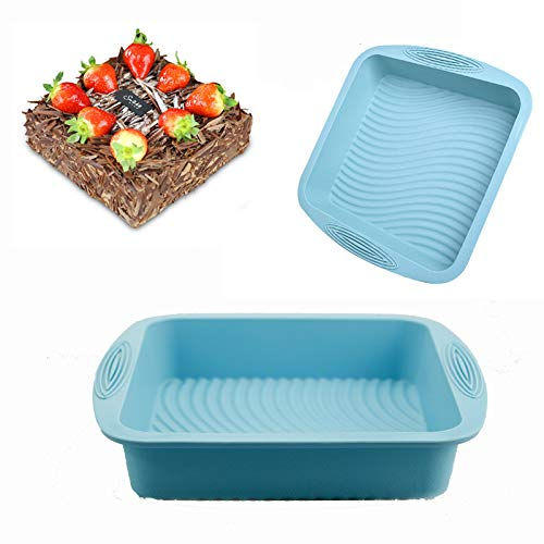 Square Cake Silicone Molds Pan,Silicone Bakeware Homemade Brownie,Cake,Bread,Nonstick Silicone Wave pattern Baking Mold By Plaifey Kitchen Baking Tools (1PCS/10.4x9.7x2.2 Inch) (Blue)