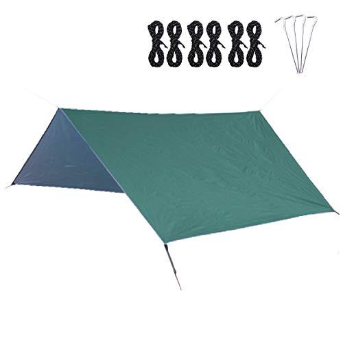 TRIWONDER Bâche de Camping 300 x 300 cm Tarp Auvent Parasol Tapis de Sol Abri Anti-UV pour Hamac Randonnée Pique-Nique Plage (Vert armé + Accessoires)