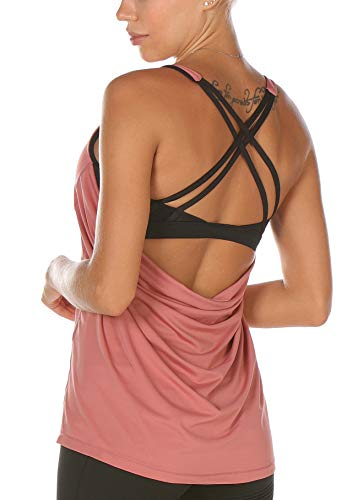 icyzone Workout Tank Tops Built in Bra - Women's Strappy Athletic Yoga Tops, Exercise Running Gym Shirts (S, Peony)