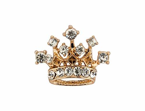 Knighthood Herren Anstecknadel goldene Krone mit Swarovski-Kristallen Herren Brosche/Reversnadel/Lapel Pin/Anzug/Sakko