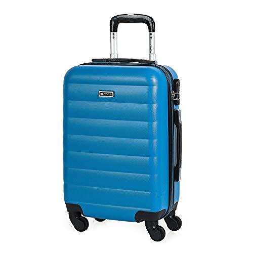 ITACA - Maleta Cabina Avion Pequeña con Ruedas de Viaje rígida para Hombre Mujer. Trolley 55x38x20 cm ABS. Equipaje de Mano. Cómoda, Ligera. Low Cost Ryanair. 71250, Color Azul Cian