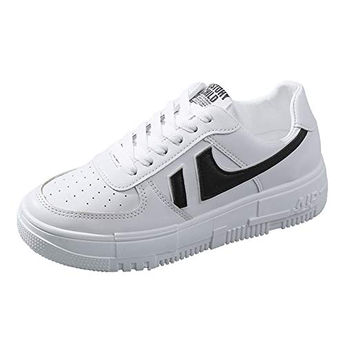 QCBC Zapatillas de Deporte de Mujer Zapatos para Mujer Damas Casual Transpirable Mujer Vulcanized Zapatos de Cordones Lace Up Mujer Comfort Sheast Shoes,40EU