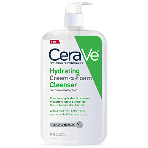 CeraVe Hydrating Cream-to-Foam Cleanser | Makeup Remover and Face Wash With Hyaluronic Acid | Fragrance Free | 19 Ounce