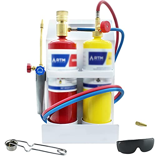 RTMMFG Oxygen MAPP Torch Kit Portable Metal Stand, for Soldering and Brazing, Sparker, Protection glass(No Gas Cylinder)