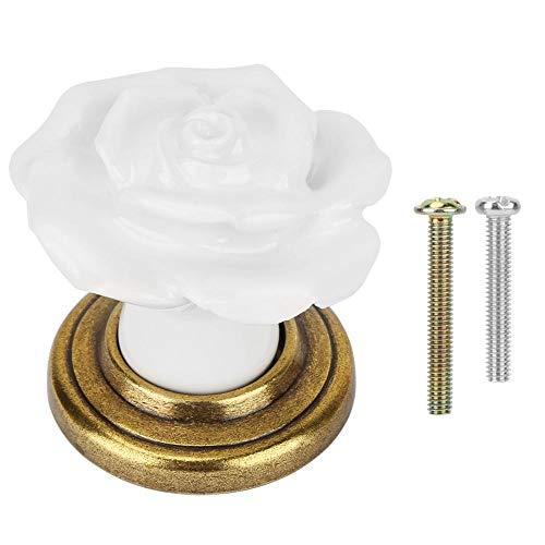 Perillas de cajón, manija de armario, tiradores de cajón, diseño en forma de rosa fácil de instalar Perillas de(1009 Green Ancient-White)