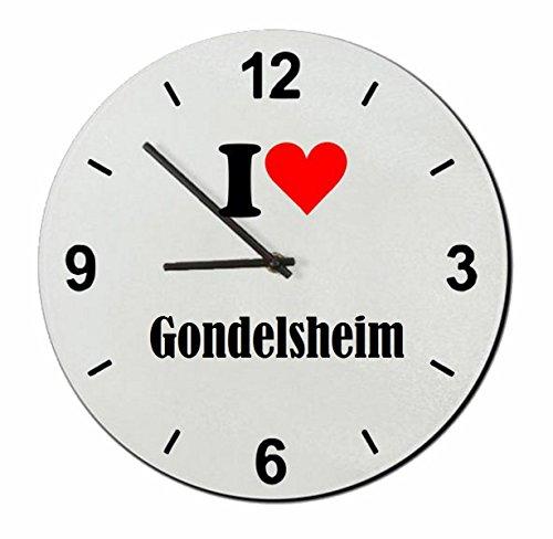 Druckerlebnis24 Glasuhr I Love Gondelsheim eine tolle Geschenkidee die von Herzen kommt  Wanduhr  Geschenktipp: Weihnachten Jahrestag Geburtstag Lieblingsmensch