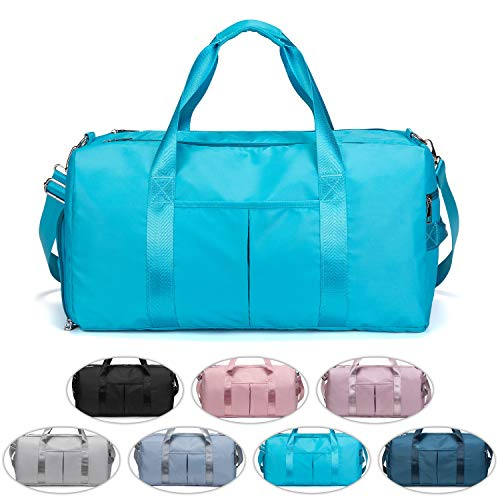 FEDUAN das Original, Sporttasche Reisetasche modisch wasserdicht mit Schuhfach Nassfach für Damen und Herren Yoga Pilates Strand Freizeit Sauna Gym-Tasche Shopping-Bag Weekender Urlaub hell-blau