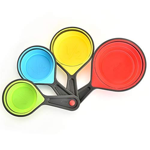 ASXQN Copa De Medición De Silicona Plegable Set De La Taza De Medición con El Conjunto De Escala De 4 Tazas De Medición para Hornear Y Herramientas Mojadas