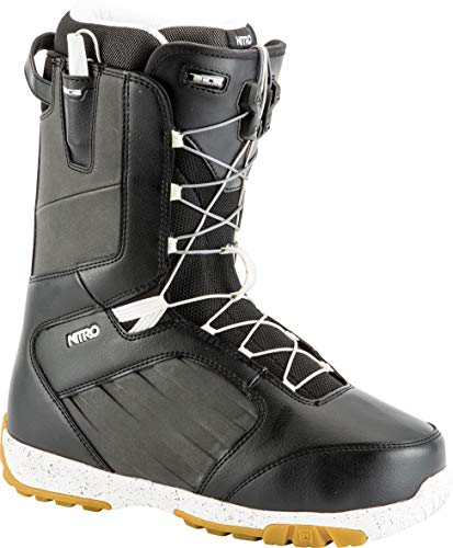 Nitro Snowboards Herren Anthem TLS 19' Leichter Snowboardschuh Snowboardboot mit Schnellschnürsystem Allround Freestyle Freeride Softboot Warm Boots, Black-White, 28.5