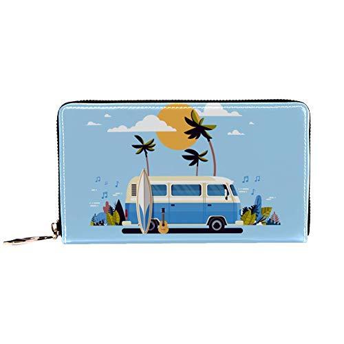 XCNGG Cartera con cremallera para mujer y embrague para teléfono, bolso de viaje, bolso de mano de cuero, tarjetero, organizador, muñequeras, carteras, surf retro, autobús de surf vintage, puesta de s