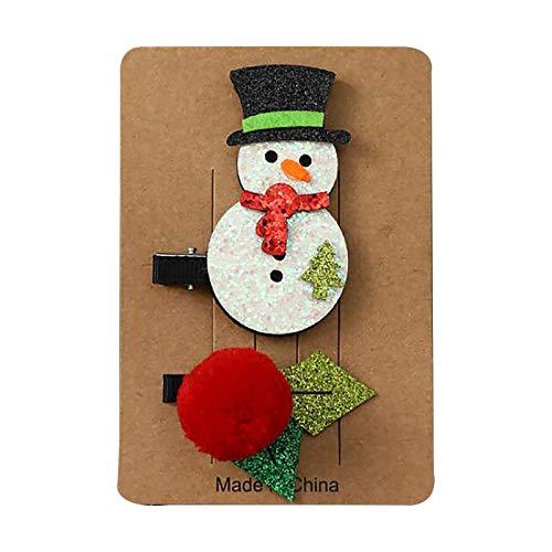 YueLove 1 Paar Weihnachtshaarspangen niedliche Weihnachtshaarspangen Weihnachtsbaum Weihnachtsmann, Schneemann, Elch, Haarspangen Mädchen