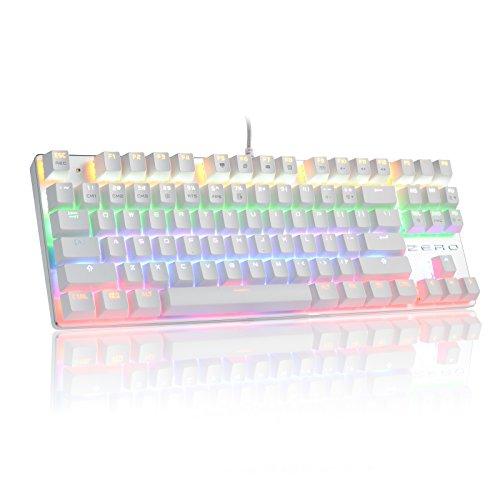 HiveNets 87キー メカニカルキーボード 青軸 ゲーミングキーボード 10パターン LED バックライトモード 有線 Win10/Win 8/Win7/Win7 64/XP/Vista/Vista 64/Mac対応 (ホワイト)