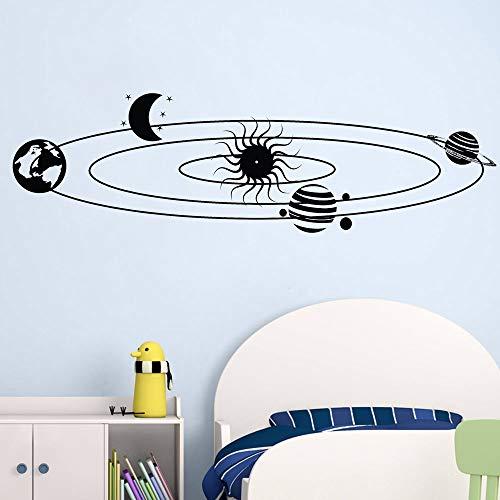 Chambre d'enfants système Solaire Stickers muraux étoiles Univers planète Espace décoration de la Maison Terre Soleil Saturne Mars Lune 63cmx214cm