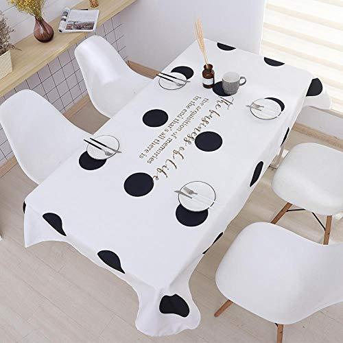 PengMu tafelkleed, vuilafstotend, katoen en linnen, waterdicht, zwart en wit, afwasbaar, onderhoudsvriendelijk, stofdicht voor eettafel