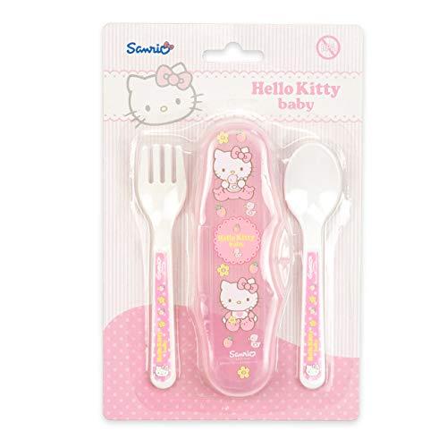 Bébé voyage couverts Sanrio HELLO KITTY 0% BPA * NEUF * Boite de rangement + cuillere + fourchette * Set couverts