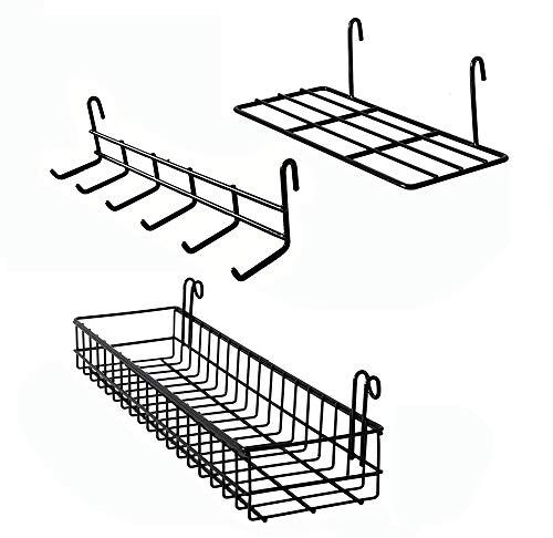 AQJSQ Korb/Regal/Haken für Gitter Pinnwand, DIY Multi-Funktion Wandgitter schwarz deko 40 * 10 * 5/25 * 10 * 8/26.5 * 6 * 7 cm…