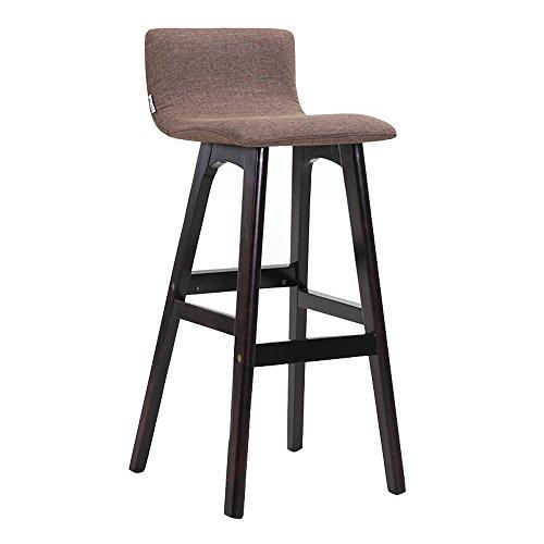 YDS SHOP GEWASISI massief houten bar stoel, barkruk hocker personeel restaurant stoel met rugleuning reception stoel, katoen en linnen stoffen zijn afneembaar en wasbaar