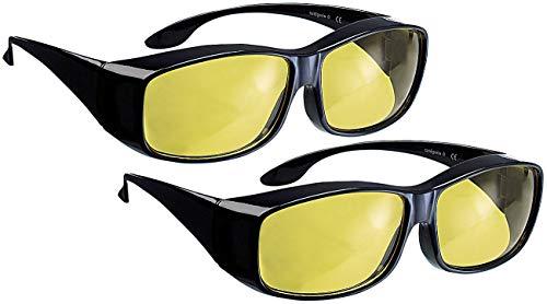 PEARL Auto Blendschutz: 2er-Set Überzieh-Nachtsichtbrillen Night Vision für Brillenträger (Überzieh-Brille)